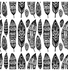 Vintage feathers seamless background vector