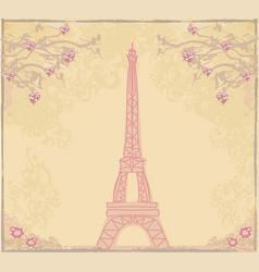 Vintage retro eiffel tower abstract card vector