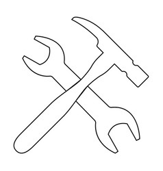 wrench and hammer the black color icon vector image