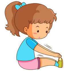 Young girl stretching on white background vector