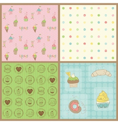 beautiful cupcakes backgrounds vector image