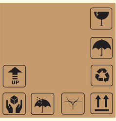 black fragile symbols and packing box icon vector image vector image