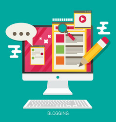 computer with blogging activity flat vector image
