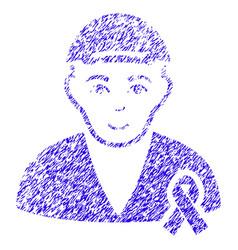 man with mouning ribbon icon grunge watermark vector image vector image