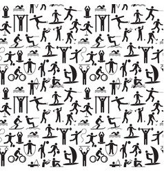 sport icon playing people black background pattern vector image