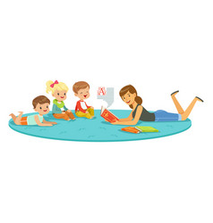 teacher reading a book to kids children enjoy vector image vector image
