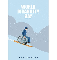 World Disabilities day Man in wheelchair goes to vector image