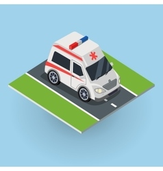 Ambulance car on the road top view vector