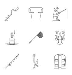 Angling icons set outline style vector