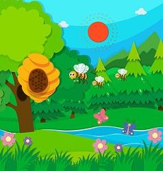 Bee flying around beehive vector image vector image