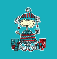 Christmas Elf with Presents Aqua vector image vector image