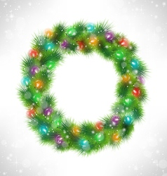 Christmas wreath with multicolored glassy led vector image