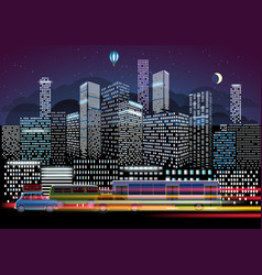 city traffic and night illumination modern city vector image