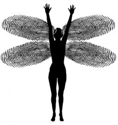 fingerprint woman dragonfly vector image vector image