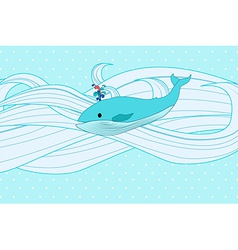 Whale on water vector image