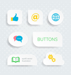 white web buttons with multimedia icons vector image vector image