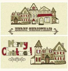 2 Christmas postcards vector image vector image