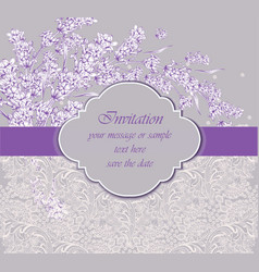 delicate lace card with lavender flower vector image
