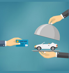 hands holding credit card and cloche with car vector image vector image