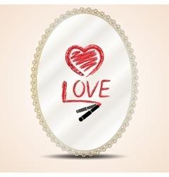 Inscription lipstick on mirror vector image