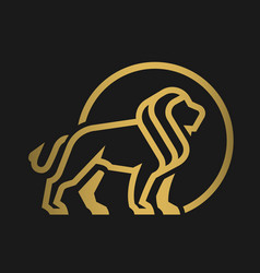 lion logo emblem on a dark background vector image vector image
