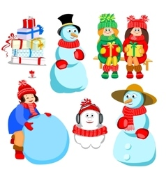 set of characters for winter design vector image