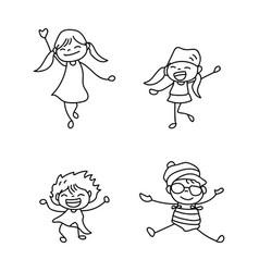 set of hand drawing cute girls line art vector image