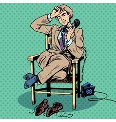 Tired man sits chair talking phone vector image vector image