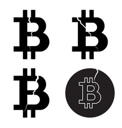 a set of digital bitcoin crypto symbols with a vector image vector image