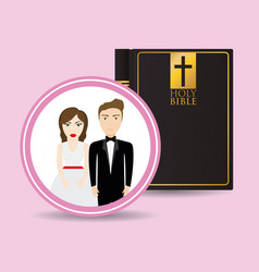 Get married couple bible card greeting vector