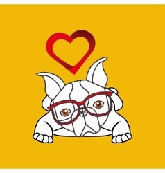 hand draw cute dog pet with glasses heart vector image vector image