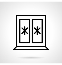 Window with snowflakes black line icon vector image