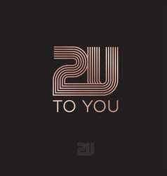 2u monogram strips to you linear logo vector image
