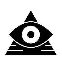 All seeing eye solid icon pyramid with eye vector