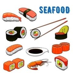Appetizing japanese sushi and rolls seafood vector image