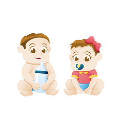 bagirl and boy sitting on white background vector image