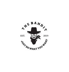 Bandit icon logo design inspiration template vector