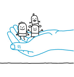 Big hand and cartoon children - protection vector