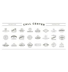 big set contact us service elements and vector image
