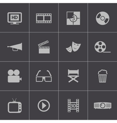 Black cinema icon set vector