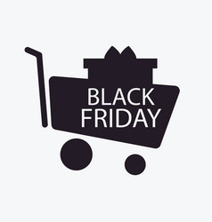 black friday trolley and gift box shopping cart vector image