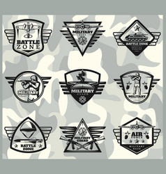 Black vintage military labels set vector