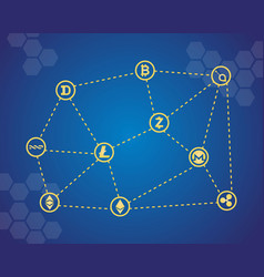 blockchain word with icons vector image