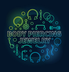 Body piercing colored jewelry outline vector