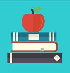Books with apple flat icon vector