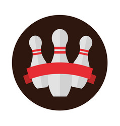 Bowling pins with red ribbon emblem game vector