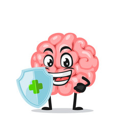 Brain mascot or character vector