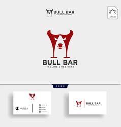 bull baror cow horn drink logo template vector image