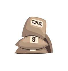 Burlap sacks full of coffee on vector