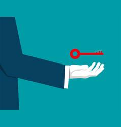 businessman holding a key success vector image